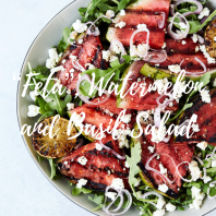 Feta, watermelon basil salad square